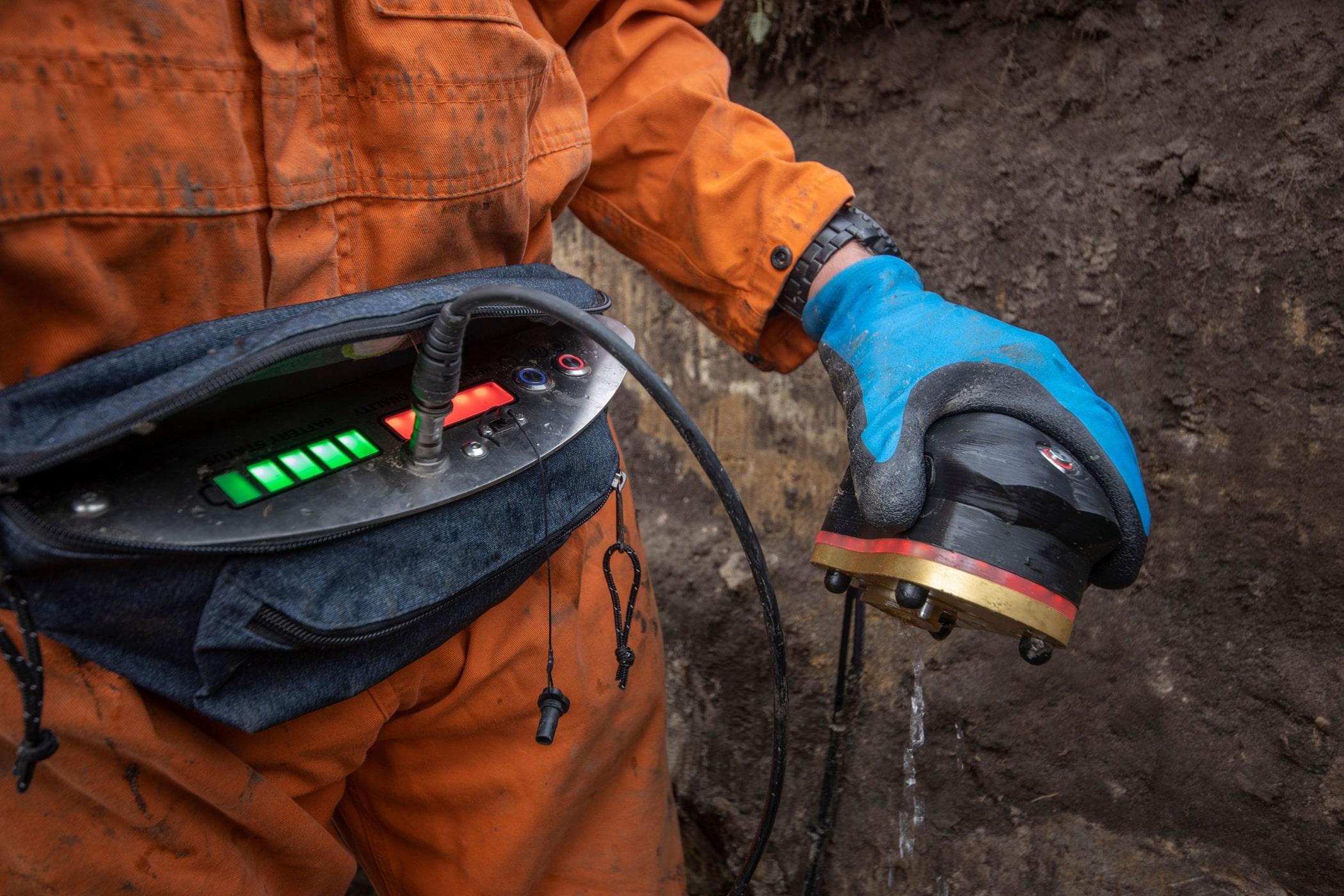 Pijpleiding inspectie tool de PipeScanner in het veld bij Brabant Water